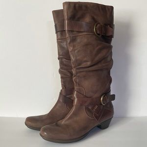 Pikolinos Brujas tall leather boots brown buckle
